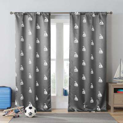 Coleman 84 in. L Polyester Blackout Curtain Panel in Grey (2-Pack)