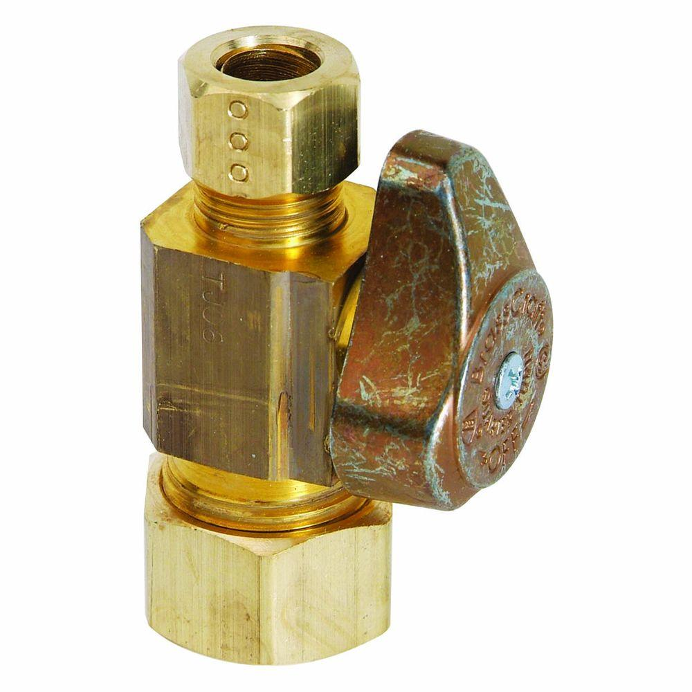BrassCraft 1/2 in. Nominal Compression Inlet x 3/8 in. O.D. Compression Outlet Brass 1/4-Turn Straight Valve (5-Pack)