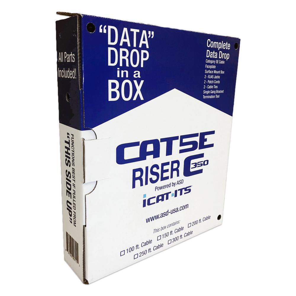 Data Drop-in-a Box Cat5e 100 ft. Blue Riser Kit