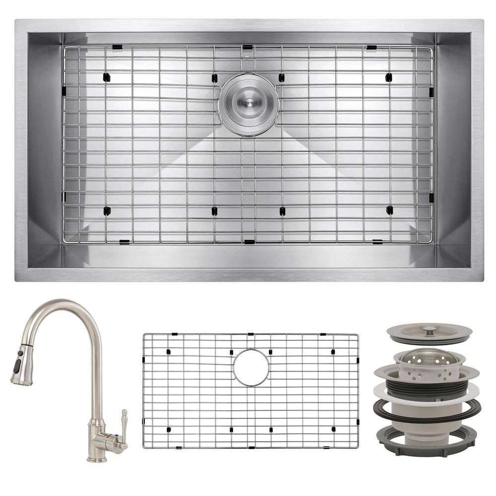AKDY Handmade All-in-One Undermount Stainless Steel 30 in. x 18 in. Pull-down Faucet and Bottom Gri Single Bowl Kitchen Sink, Brushed Stainless Steel was $455.0 now $299.99 (34.0% off)