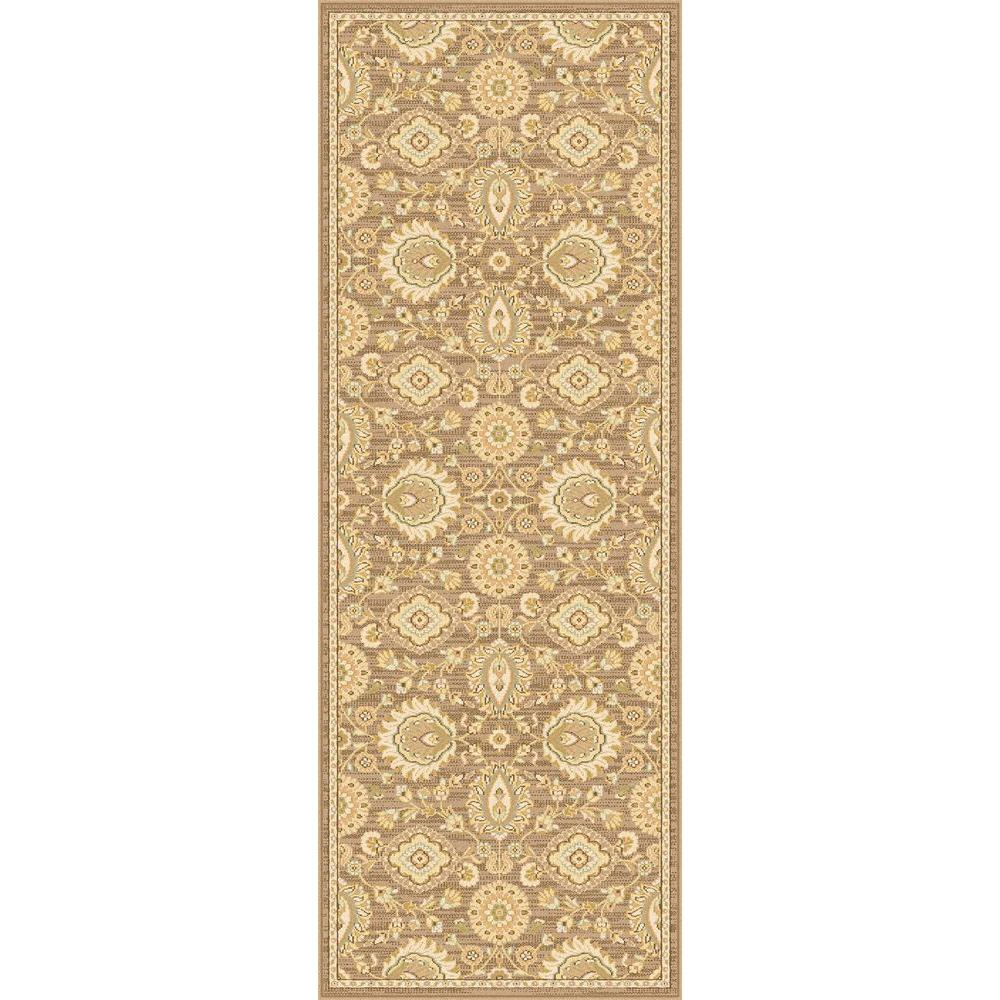 Tayse Rugs Antique Treasure Brown 2 ft. 7 in. x 7 ft. 3 in. Indoor Rug Runner
