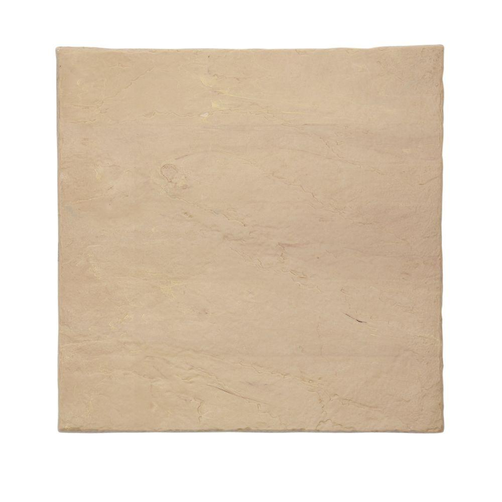 Emsco 16 in. x16 in. Flat Rock Sandstone Plastic Resin Lightweight Duty Patio Paver (12-Pack)