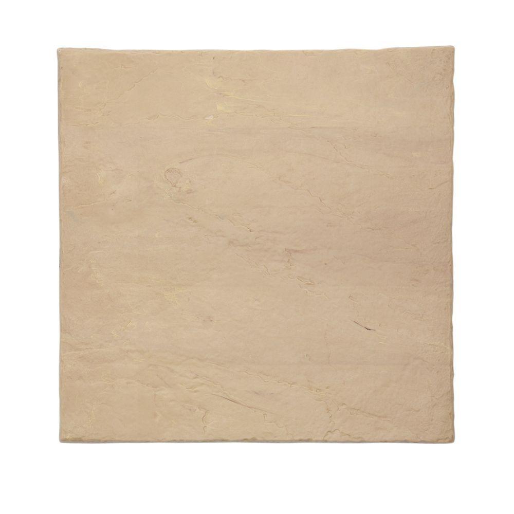 16 in. x16 in. Flat Rock Sandstone Plastic Resin Lightweight Duty Patio Paver (12-Pack)