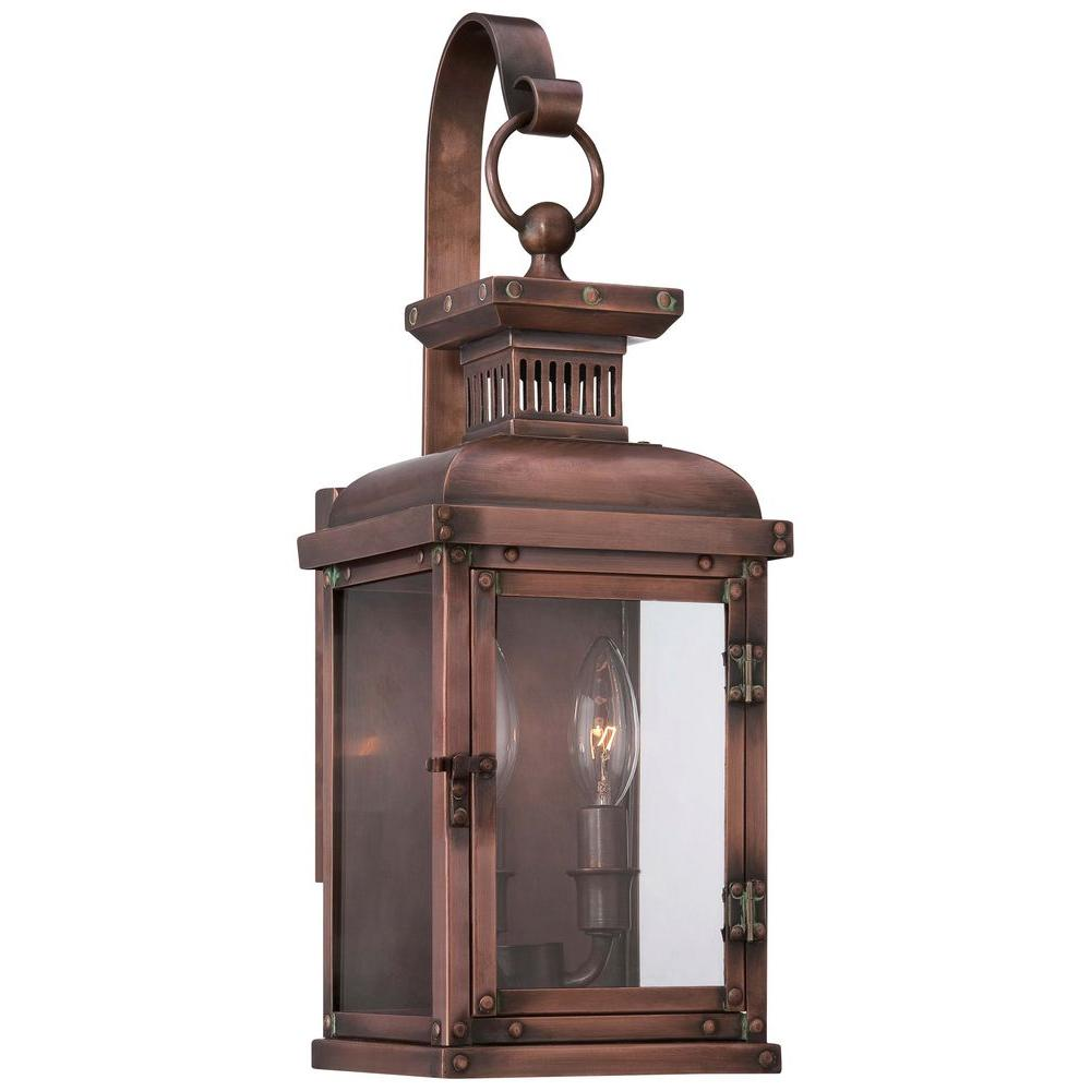 The Great Outdoors By Minka Lavery Copperton 2 Light Manhattan Copper Outdoor Wall Lantern Sconce 9072 264 The Home Depot
