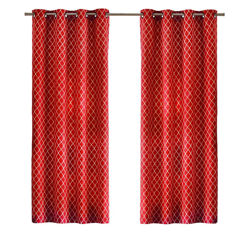 Home Decorators Collection Ogee Light Filtering Window Panel in Chili - 50 in. W x 95 in. L