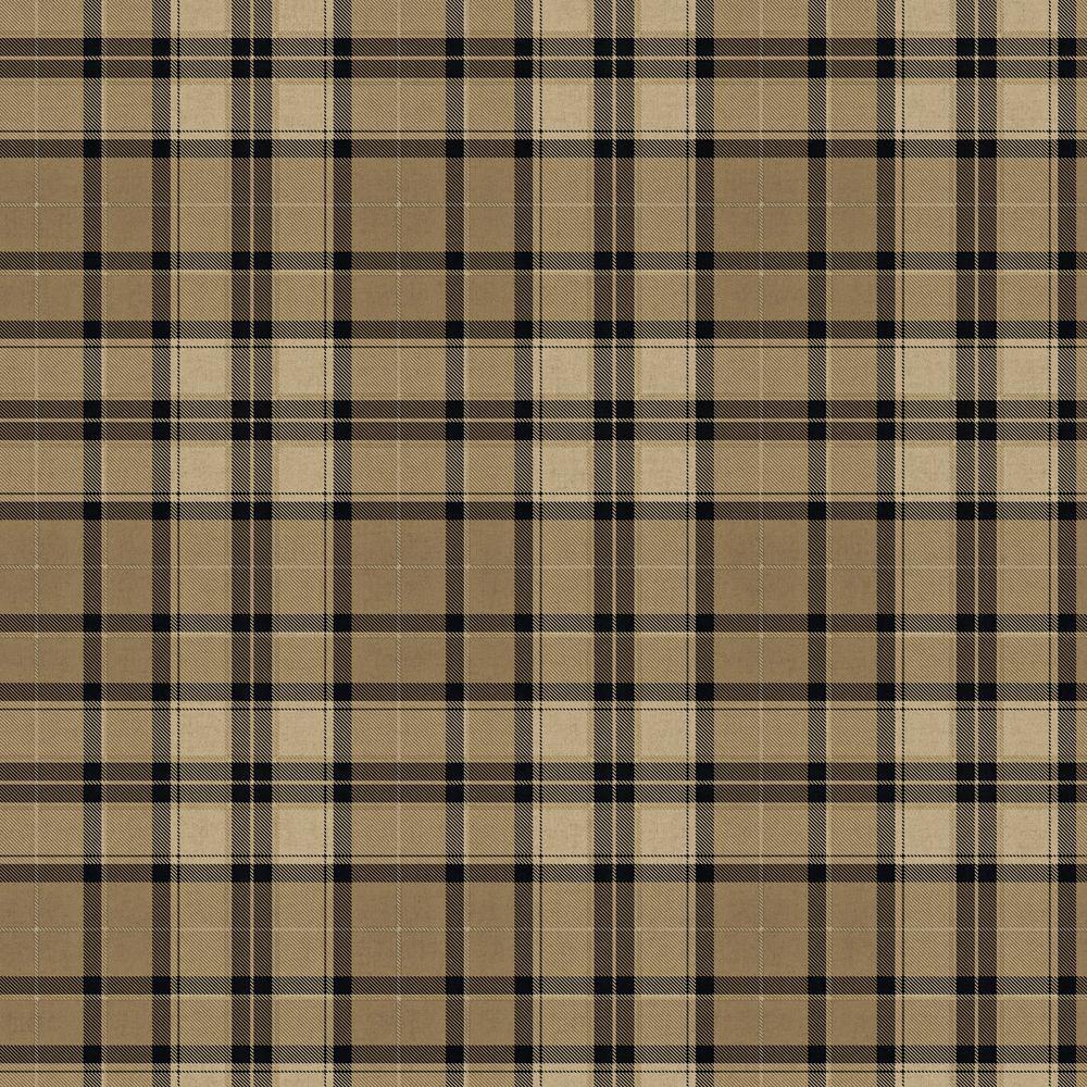 The Wallpaper Company 56 sq. ft. Black and Tan Fabric Plaid Wallpaper