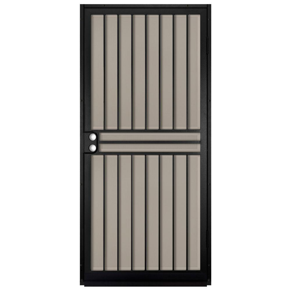 Unique home designs 36 in x 80 in guardian black surface - Unique home designs security screen doors ...