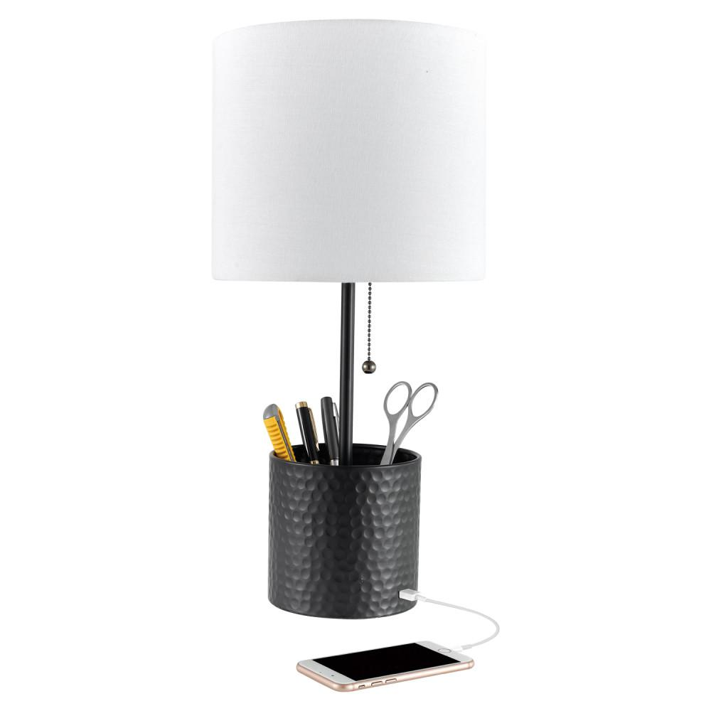 Cobain 19 in. Textured Black Table Lamp with White Fabric Shade