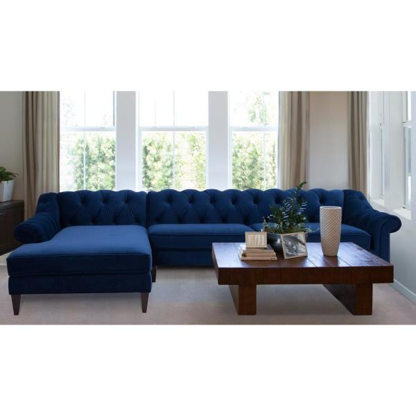 Navy Blue Tufted Left Sectional Sofa