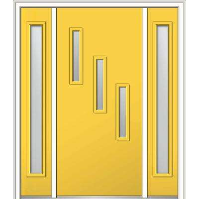 60 in. x 80 in. Davina Right-Hand Inswing 3-Lite Clear Low-E Painted Fiberglass Smooth Prehung Front Door with Sidelites