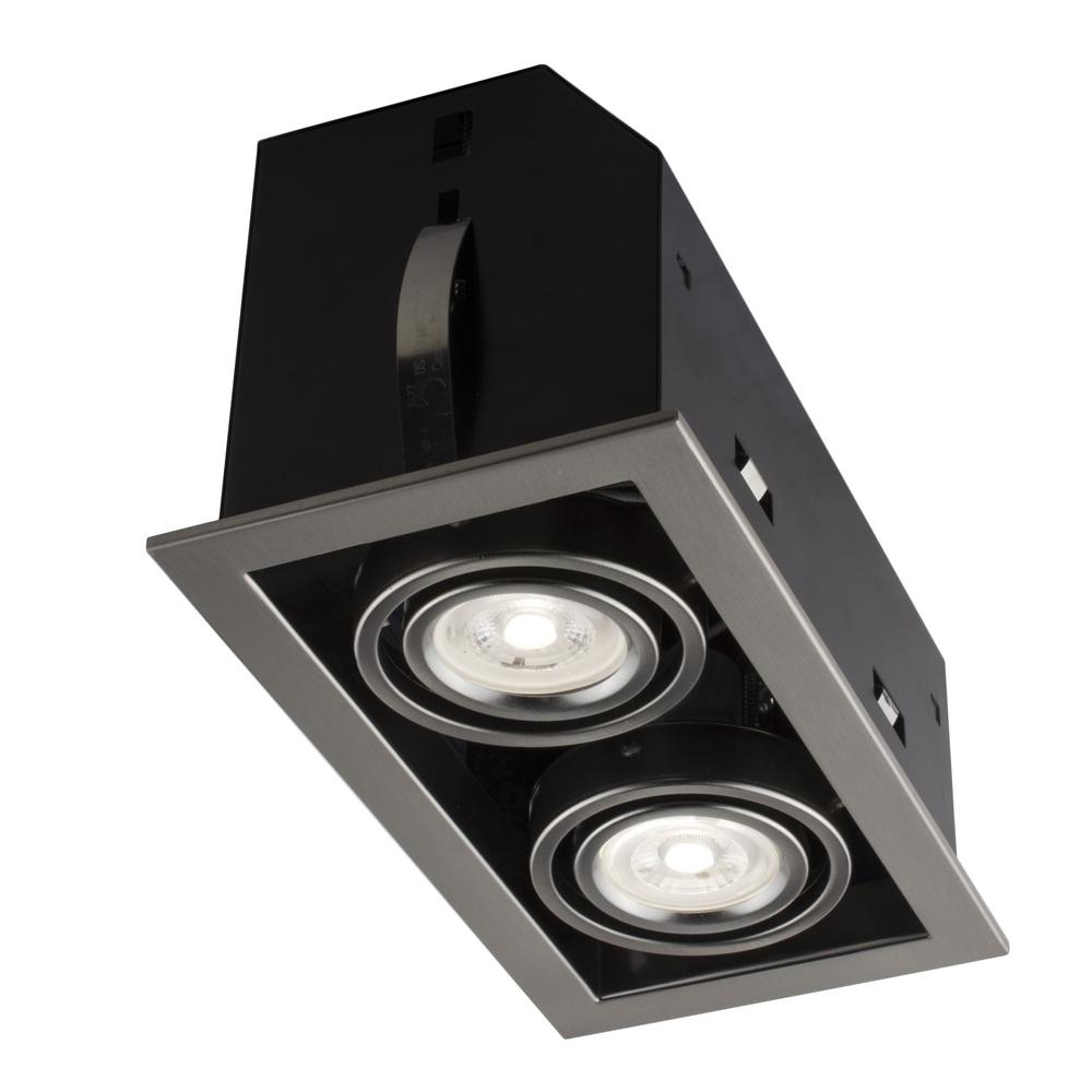 Double Cube 9 in. Brushed Chrome Recessed LED Lighting Kit with