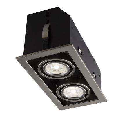 Double Cube 9 in. Brushed Chrome Recessed LED Lighting Kit with GU10 Bulb Included