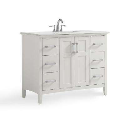 Wilshire 42 in. Contemporary Bath Vanity in Pure White with Engineered Quartz Marble Extra Thick Top in Bombay White
