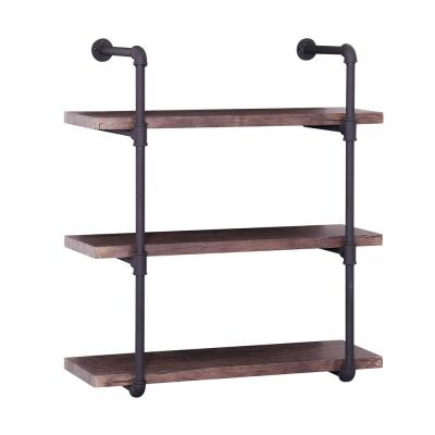 Staci 34.75 in. Dark Brown Wood 3-Shelf Accent Bookcase