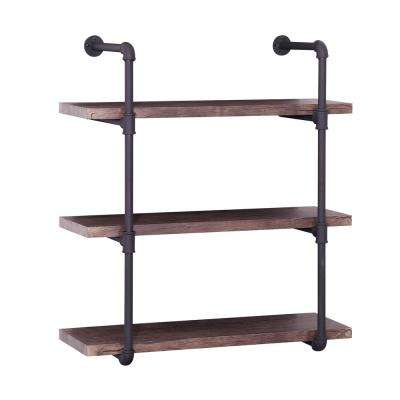 Oak Brown Industrial Pipe-Mounted 3-Tier Shelf