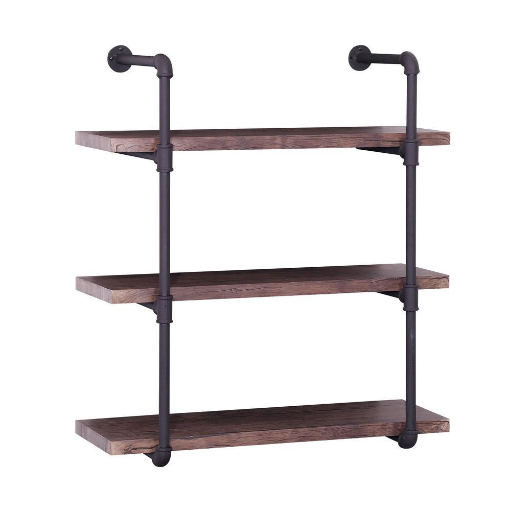 Noble House Oak Brown Industrial Pipe-Mounted 3-Tier Shelf 305243