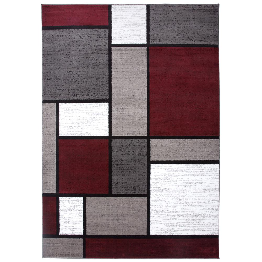 World Rug Gallery Contemporary Geometric Boxes Red 7 Ft