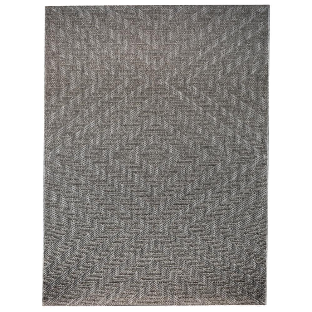 Geometric Zig Zag Grey 5 ft. 3 in. x 7 ft. Indoor/Outdoor Area Rug