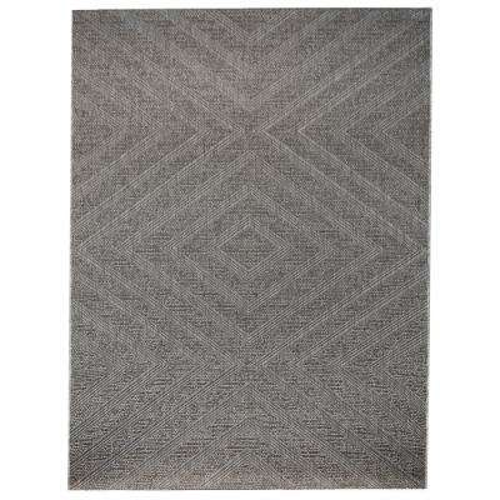 Geometric Zig Zag Grey 7 ft. 10 in. x 9 ft. 10 in. Indoor/Outdoor Area Rug