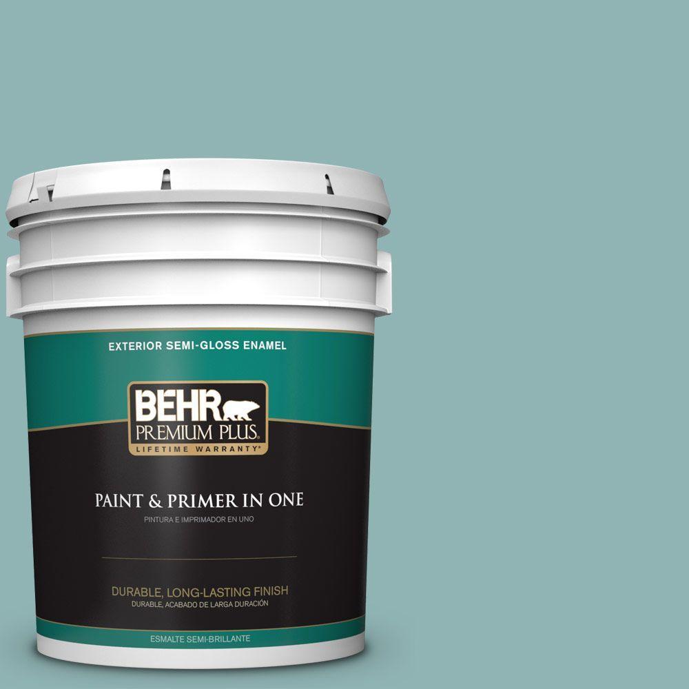 5-gal. #BIC-24 Artful Aqua Semi-Gloss Enamel Exterior Paint