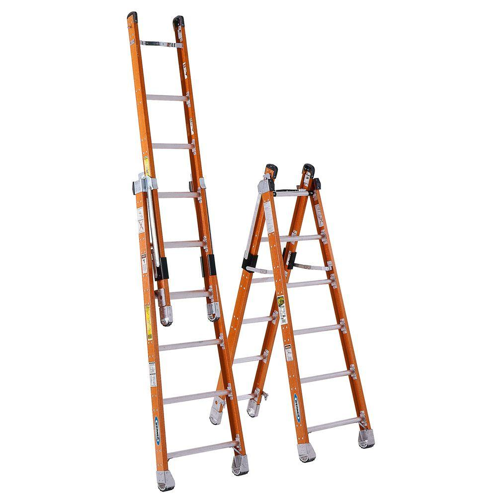 Werner 12 ft. Fiberglass Combination Ladder with 375 lb. Load Capacity Type IAA Duty Rating