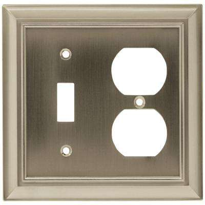 Architectural Decorative Switch and Duplex Outlet Cover, Satin Nickel