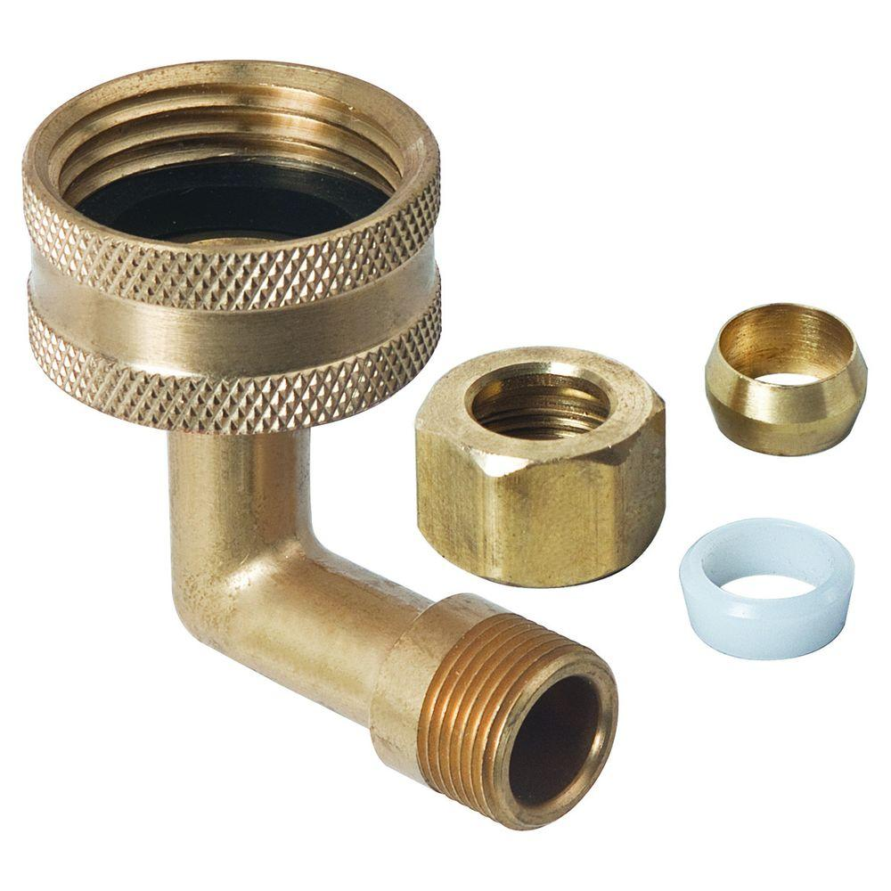 BrassCraft 3/4 in. Female Hose Thread Swivel Nut x 3/8 in. O.D. Compression Dishwasher Elbow with Nut, Sleeve and Hose Washer