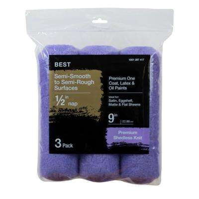 9 in. x 1/2 in. High-Capacity Polyester Knit Roller Cover (3-Pack)
