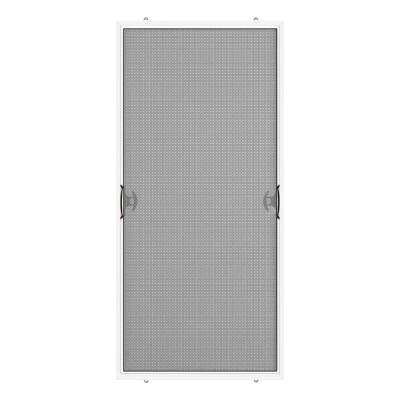 White Reversible Patio Screen Door With Handles And Latch