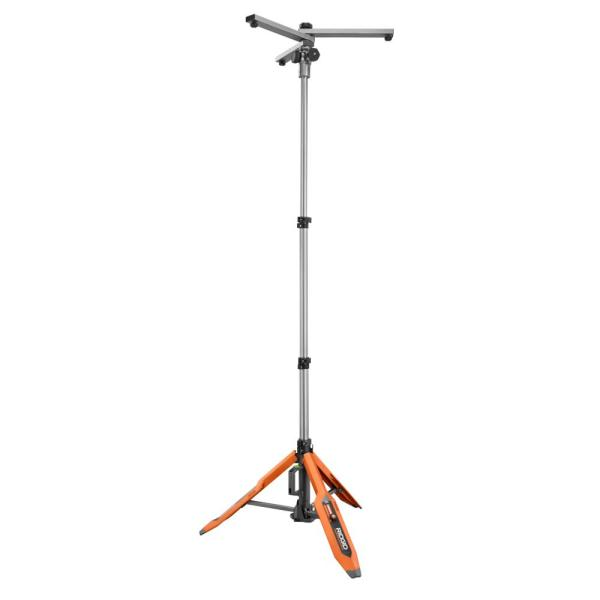 RIDGID Hybrid GEN5X Universal Collapsible Tripod Lighting Stand with (4) 1/4 in.-20 Threads for Mounting