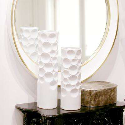Tall Glossy White Hammered Ceramic Decorative Vase
