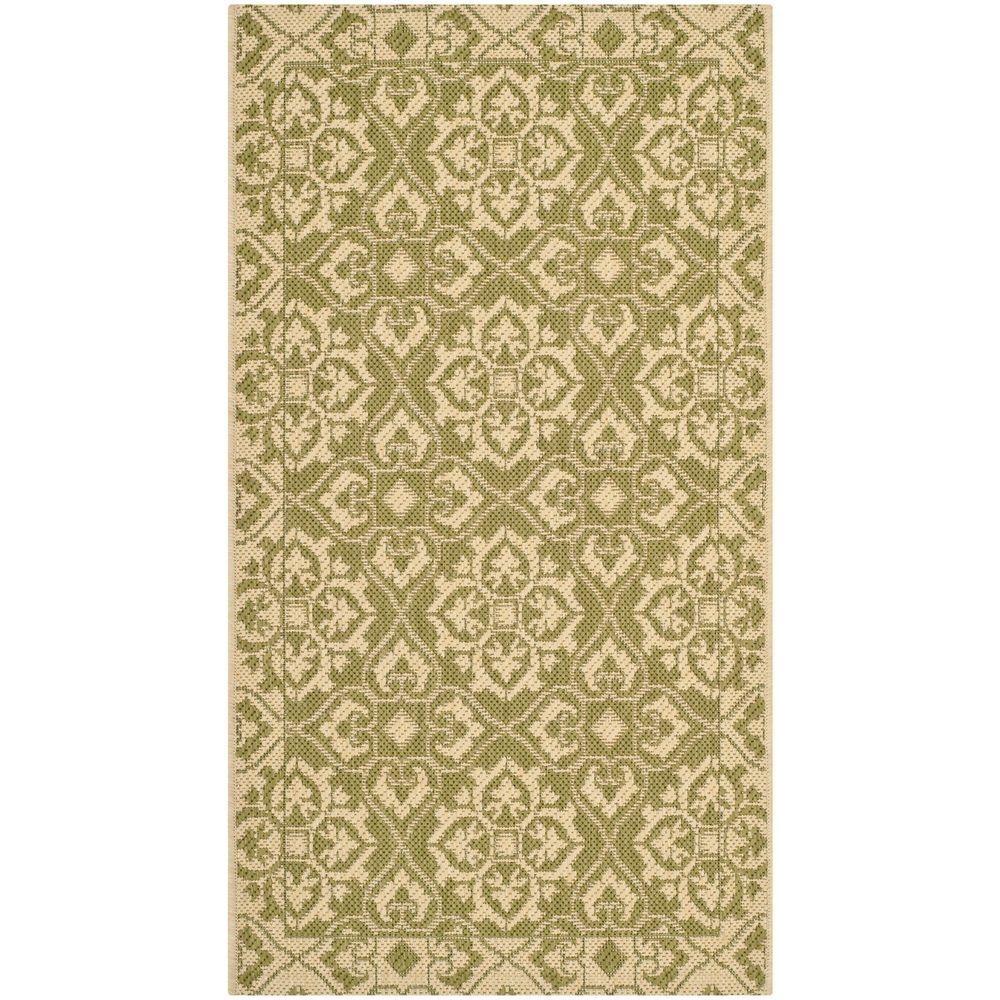 Safavieh courtyard green cream 2 ft x 3 ft 7 in indoor for Green and cream rugs