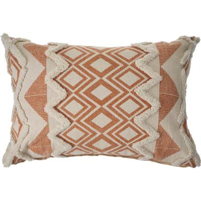 36 in. x 14 in. Orange/Cream Tufted Geometric Burnt Cotton Standard Throw Pillow