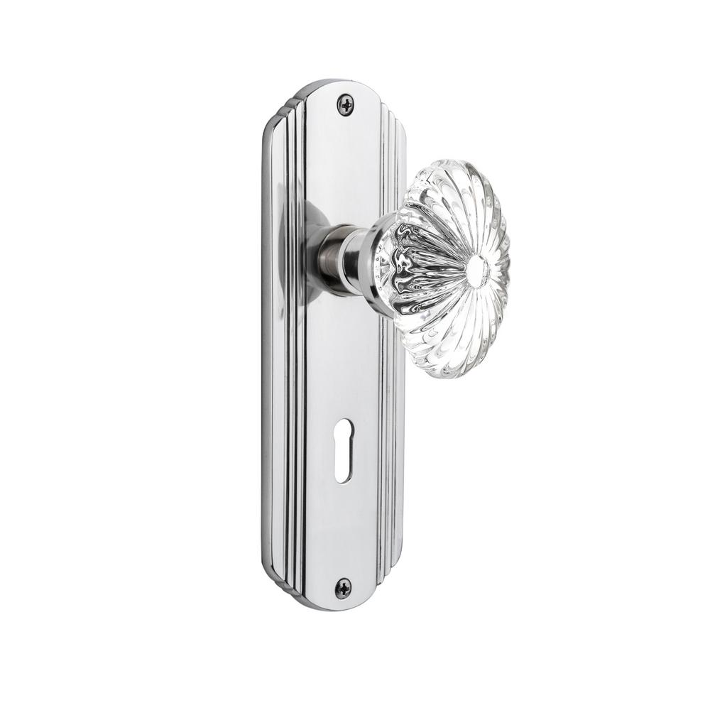 Deco Plate with Keyhole 2-3/4 in. Backset Bright Chrome Passage Hall/Closet