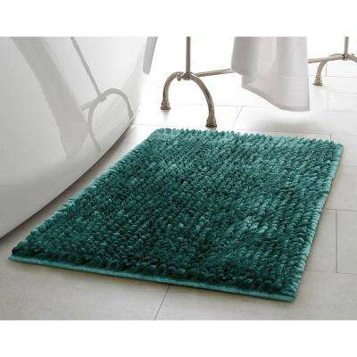 Mega Butter Chenille 27 in. x 45 in. Bath Mat in Harbor Teal
