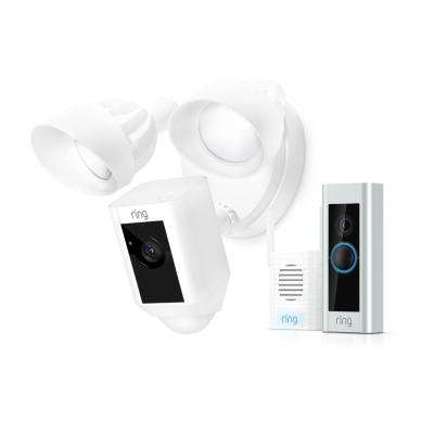 Wired Video Doorbell Pro with Chime Pro and Floodlight Cam White