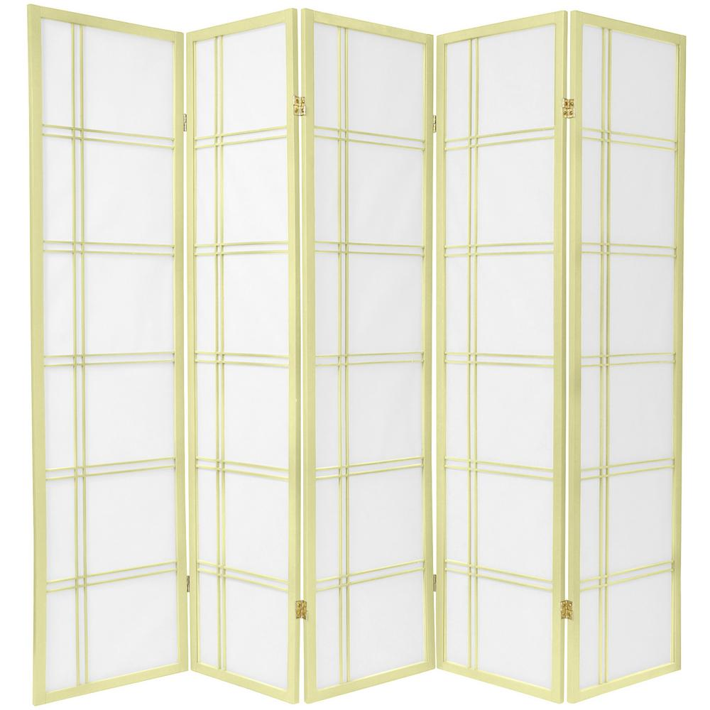 Oriental 6 ft. Ivory Double Cross 5-Panel Room Divider