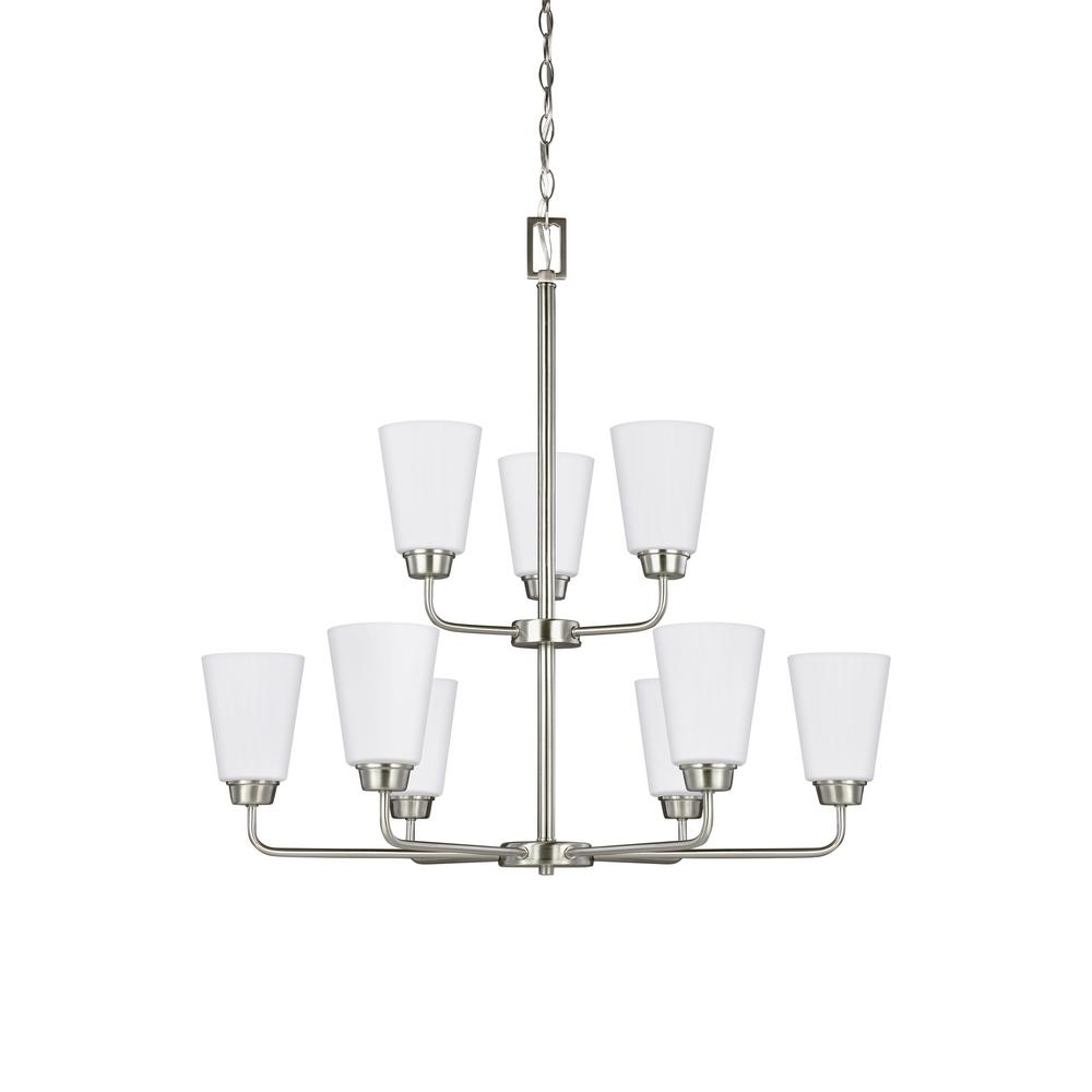 Kerrville 9-Light Brushed Nickel Chandelier with LED Bulbs