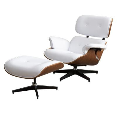 Marseille White Synthetic Leather Swivel Lounge Chair with Ottoman