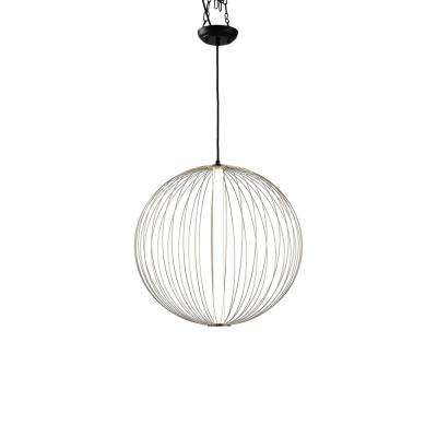 Spokes 27 in. 1-Light Satin Nickel Round Pendant