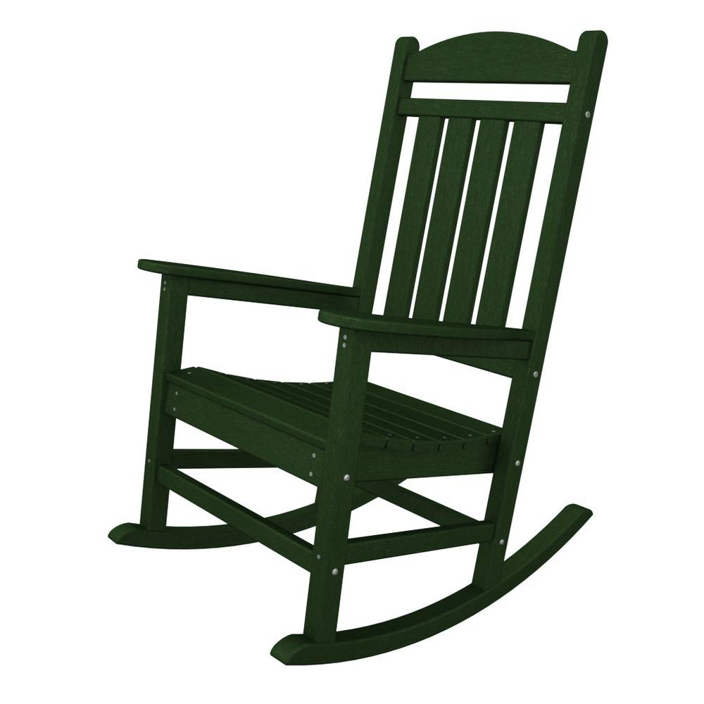 polywood presidential green plastic patio rocker r100gr the home depot