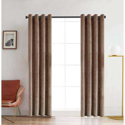 Regency 126 in. L x 52 in. W Semi-Opaque Room Darkening Polyester Curtain in It Beige