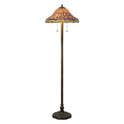 58 in. Tiffany Style Bronze Peacock Floor Lamp