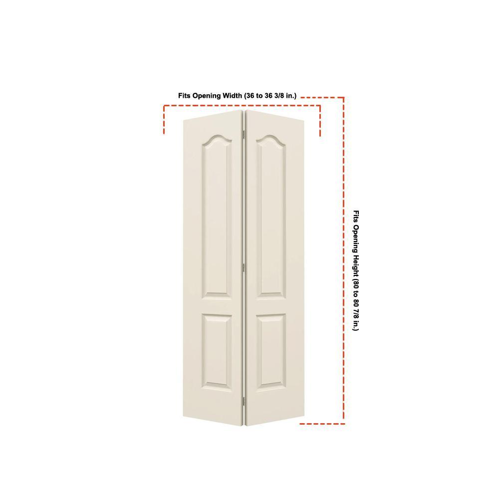 36 in. x 80 in. Princeton Vanilla Painted Smooth Molded Composite MDF Closet Bi-fold Door
