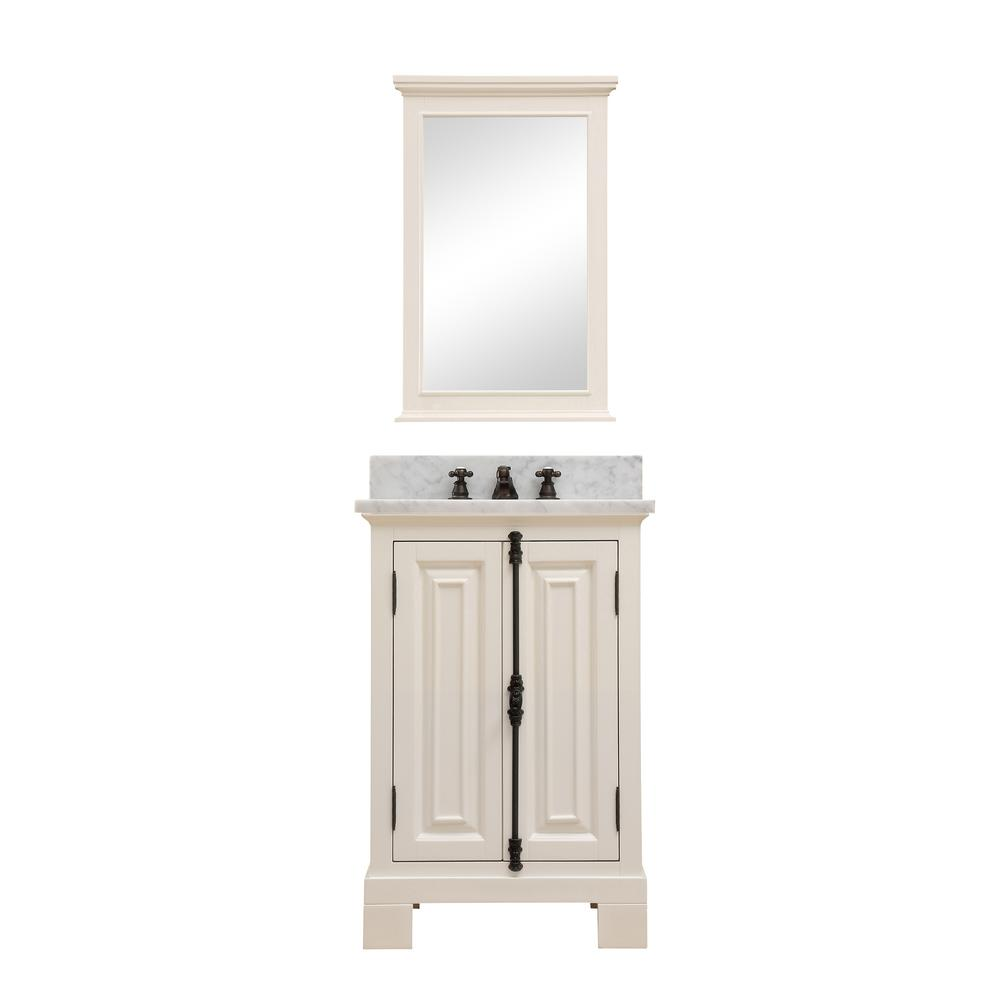 Water Creation Greenwich 24 In W X 22 D Vanity Antique White With Marble Top Basin And Mirror