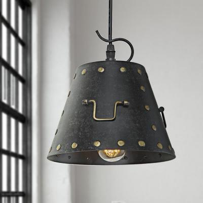 1-Light Melted Rivet Punk Style Black Farmhouse Pendant Light with Drum Metal Shade