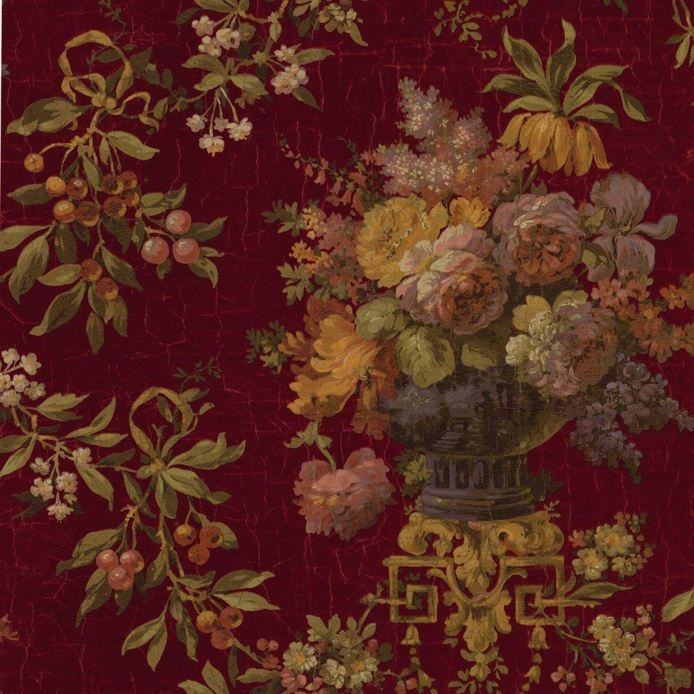 The Wallpaper Company 56 sq. ft. Red Large Rose and Berries Floral Wallpaper-DISCONTINUED