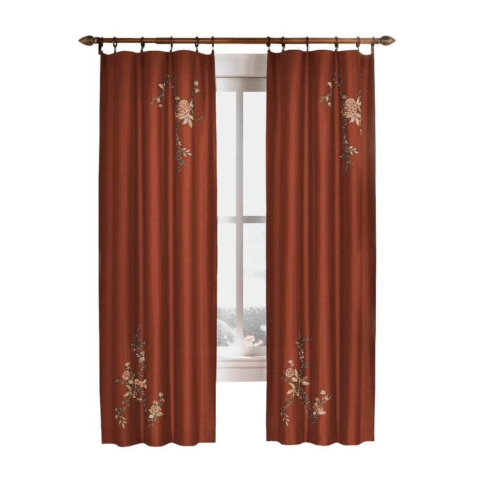 Semi-Opaque Cinnabar Asia Faux Silk Rod Pocket Curtain - 44 in.