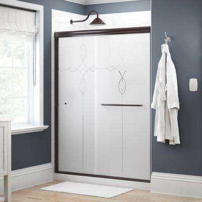 Simplicity 60 in. x 70 in. Semi-Frameless Traditional Sliding Shower Door in Bronze with Tranquility Glass