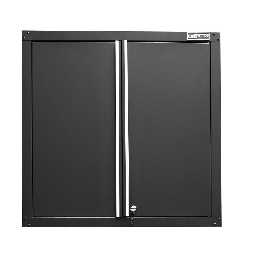 Proslat 30 in. x 15 in. x 30 in. 2-Shelf Metal Wall/Slat Mount Garage Cabinet in Black